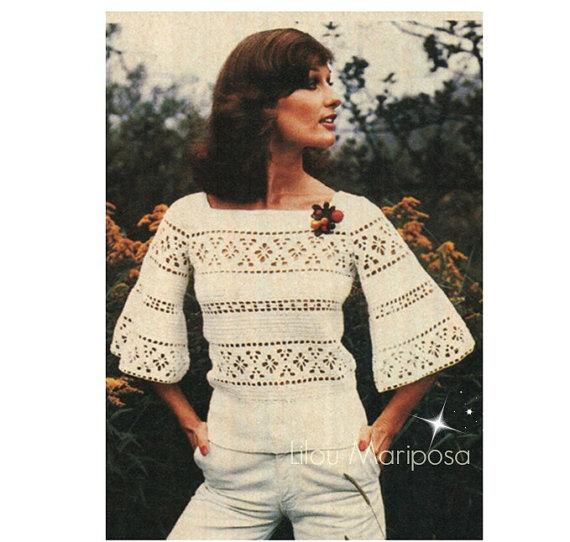 Crochet TOP Pattern Vintage 70s Crochet Bell Sleeved Blouse Pattern ...