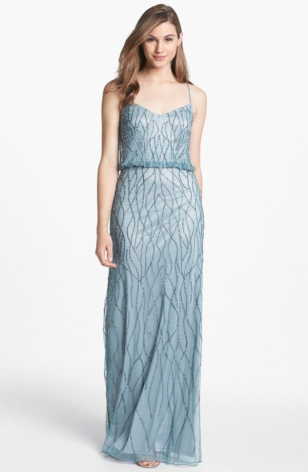 Adrianna Papell Beaded Mesh Blouson Gown (Regular & Petite ...