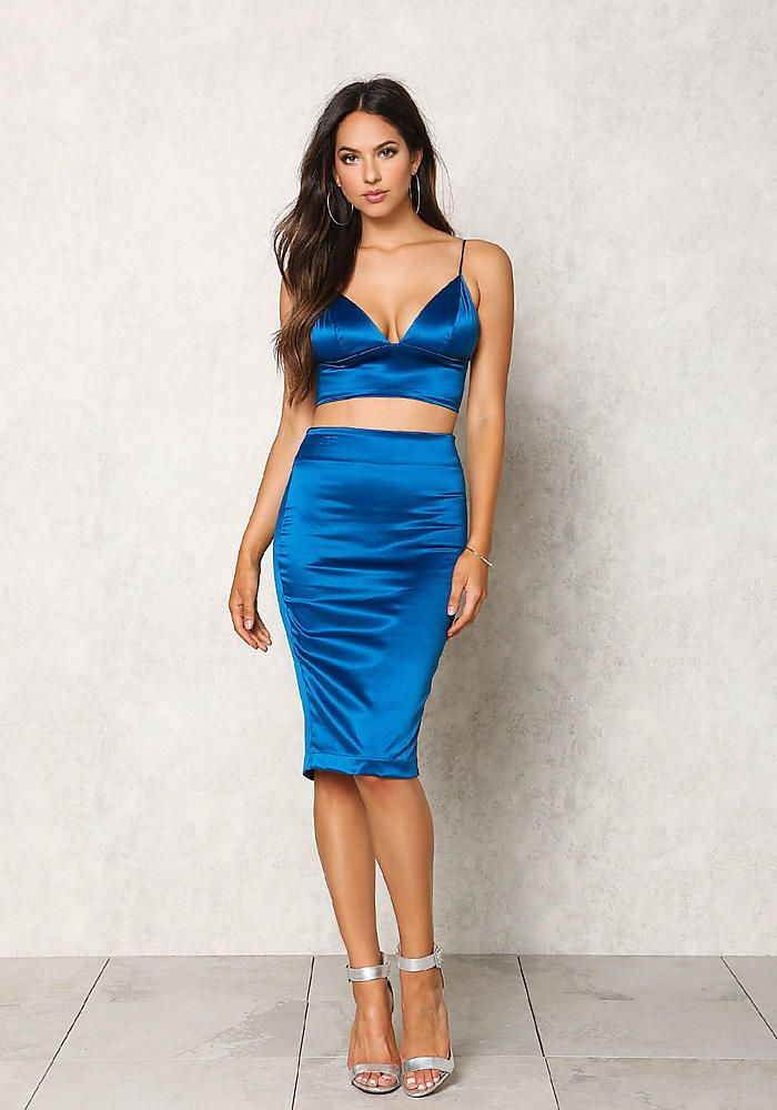 467138ac27 Teal Silky Bustier Crop Top | Women in Satin in 2019 | High waisted ...