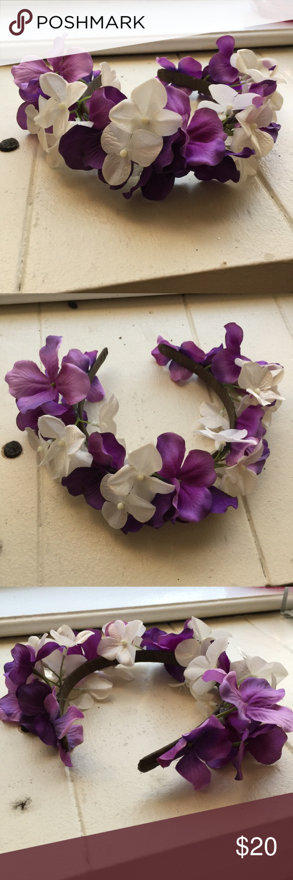 White And Purple Flower Crown Handmade By Me Can Be Worn As A Crown