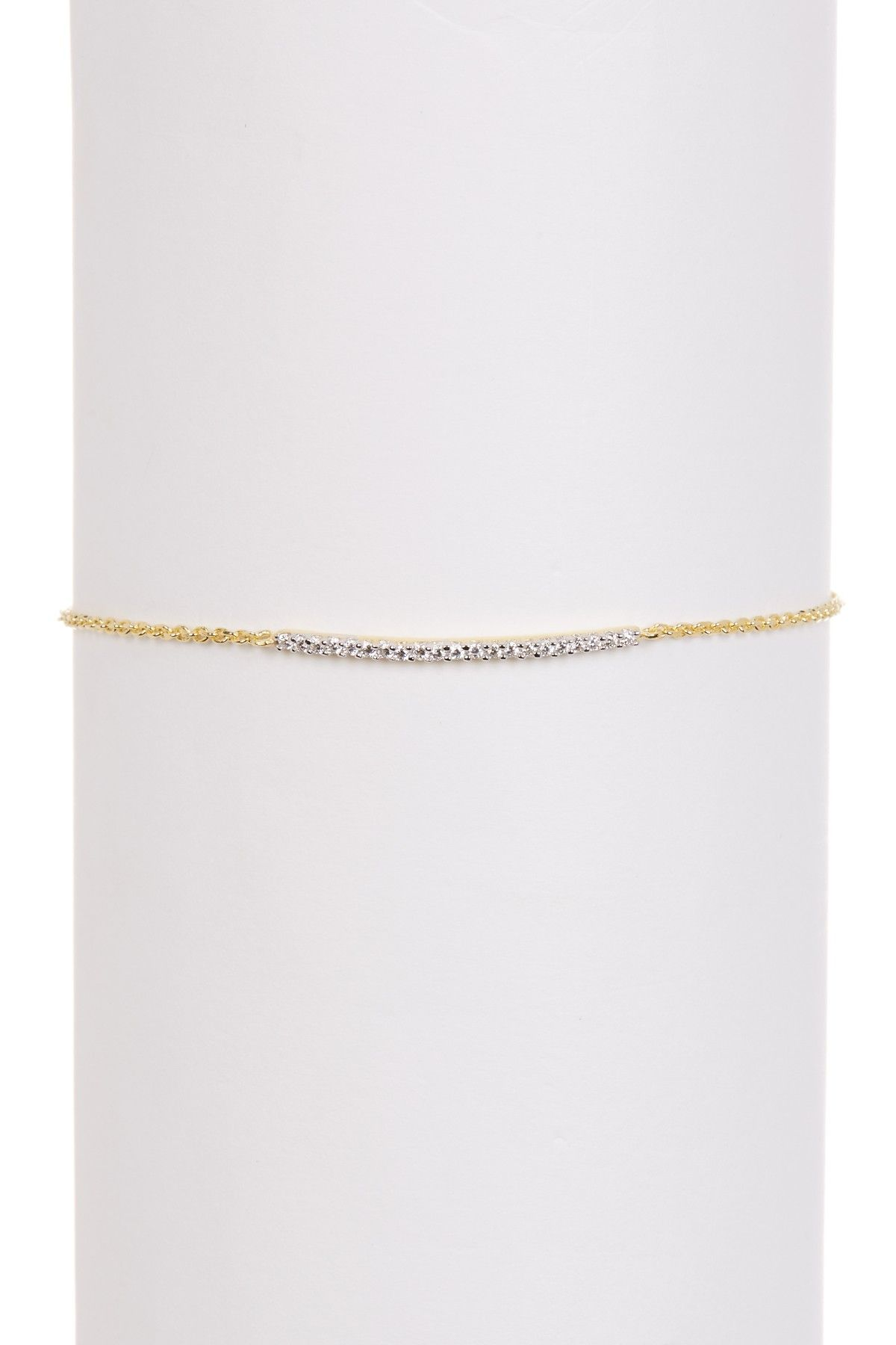 Meshmerise k gold vermeil pave curved bar adjustable bracelet