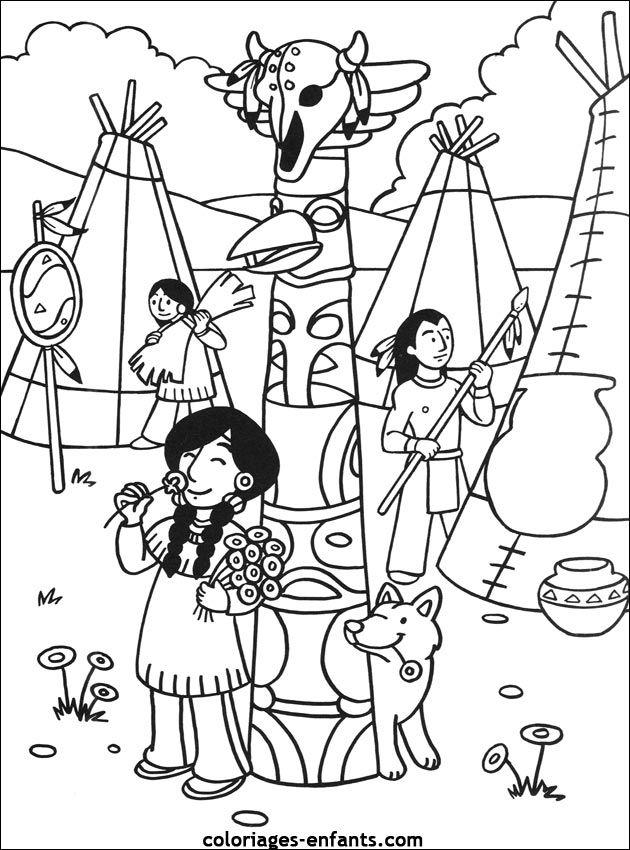 Les coloriages d 39 indiens coloriages pour enfants pinterest coloriage indien th me indien - Coloriage petit indien imprimer ...