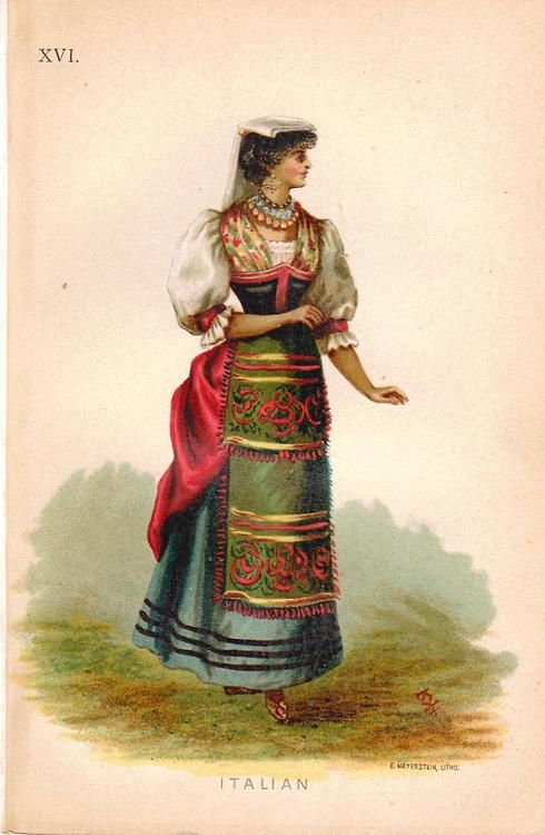 Italian, from Fancy Dresses Described; or What to Wear at Fancy Balls by Ardern Hold, 1882.
