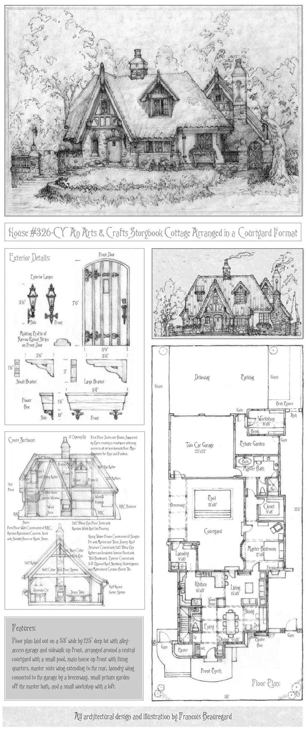 House 326 Full Plan With Portrait By Built4ever On Deviantart Cottage Plan Storybook Cottage Vintage House Plans