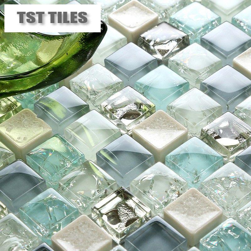Tst Crackle Glass Tile Blue Green Silver Gray Mosaics Deco