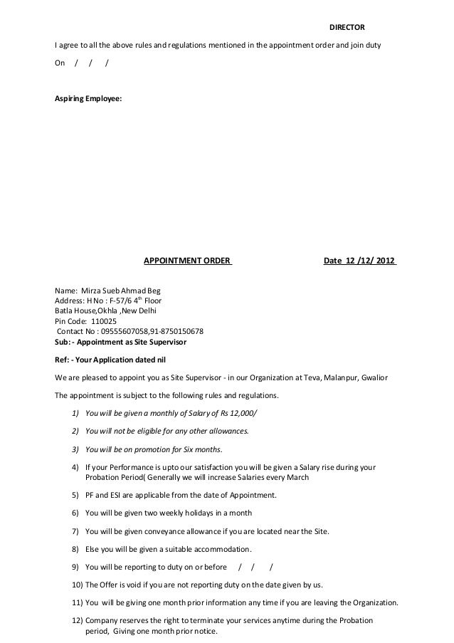 format appointment order contractor letter template free word pdf - order letter