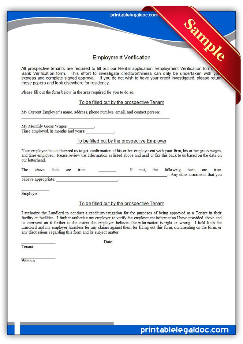 Free Printable Employment Verification  Sample Printable Legal