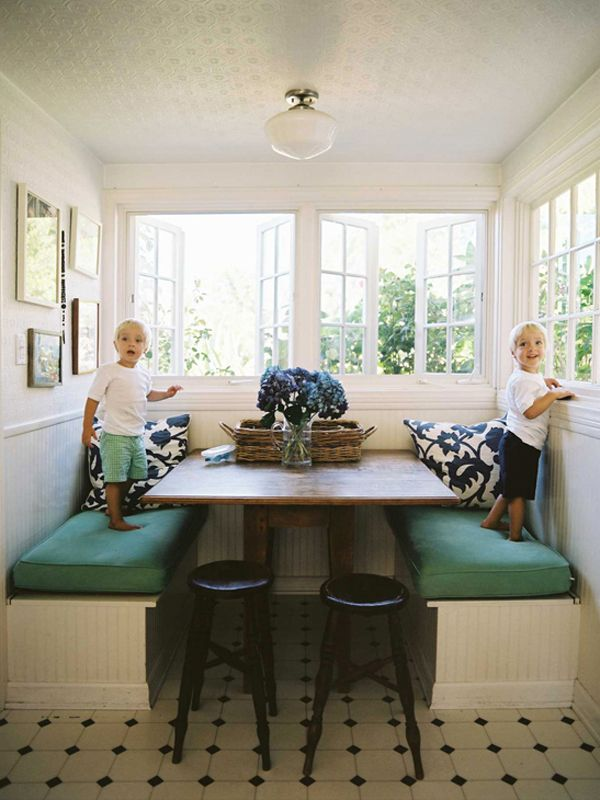 Built in dining banquette from lonny magazine interior kitchen banquette of my dreams with large windows and built in bench style seating i would want a built in table tho that one is ugly and too wide workwithnaturefo