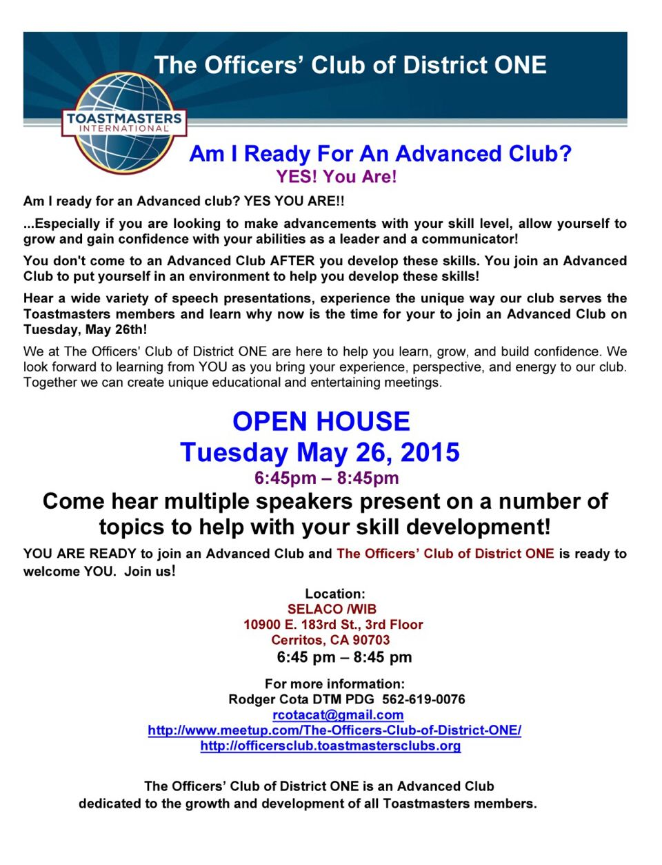 The Officer S Club Of District One S Open House On Tuesday May 26th To The District One Event Calendar So How To Gain Confidence Event Calendar Social Media