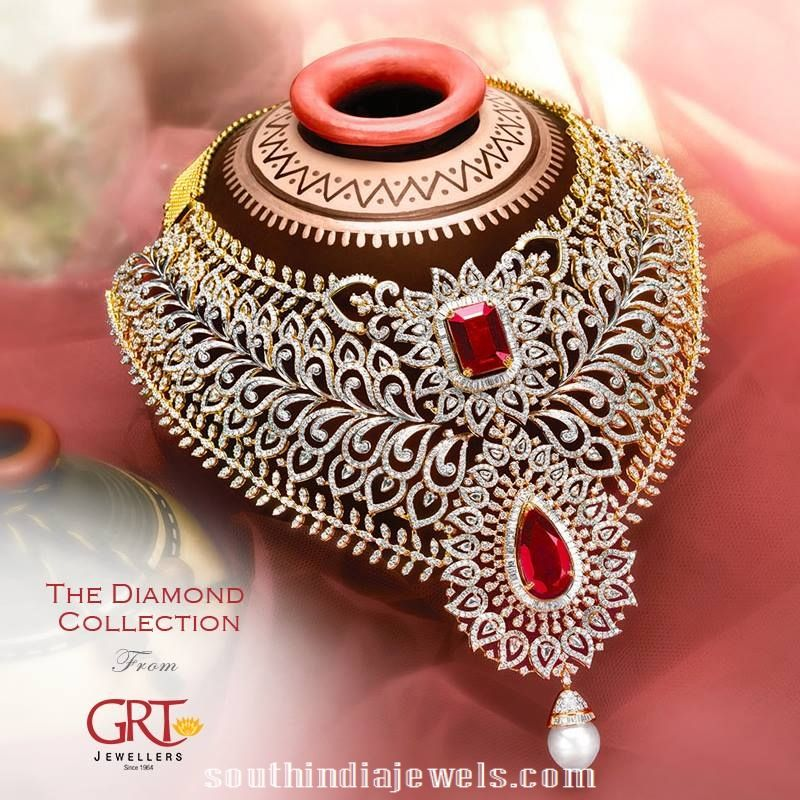 Bridal Diamond Necklace And Haram Set: Bridal Diamond Choker Necklace From GRT