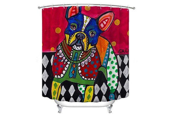 FLASH SALE French Bulldog Shower Curtain Dog Shower Curtain