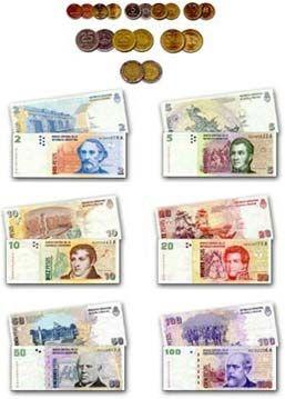 Este es el dinero de Argentina. El dinero de Argentina se ve muy diferente de dinero Americano.