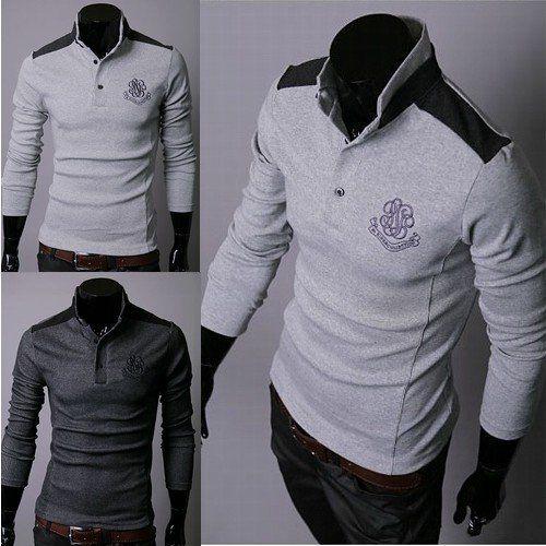 Mens Polo T-Shirt Mens Embroidery Shirt High Collar Shirt Men ...