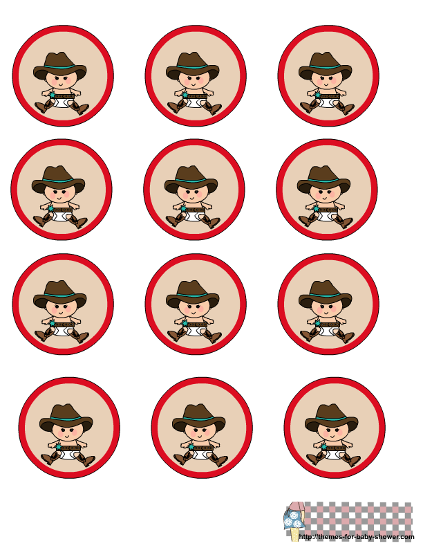 Baby Cowboy Clipart Cow Boy Baby Shower Round Labels 1