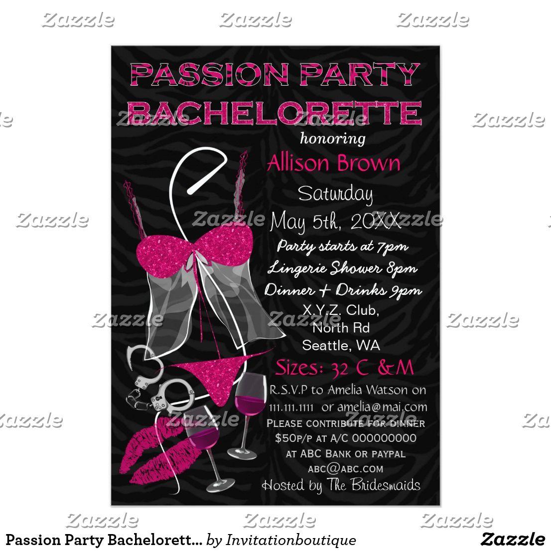 Passion Party Bachelorette, Lingerie Shower Invite   Passion ...