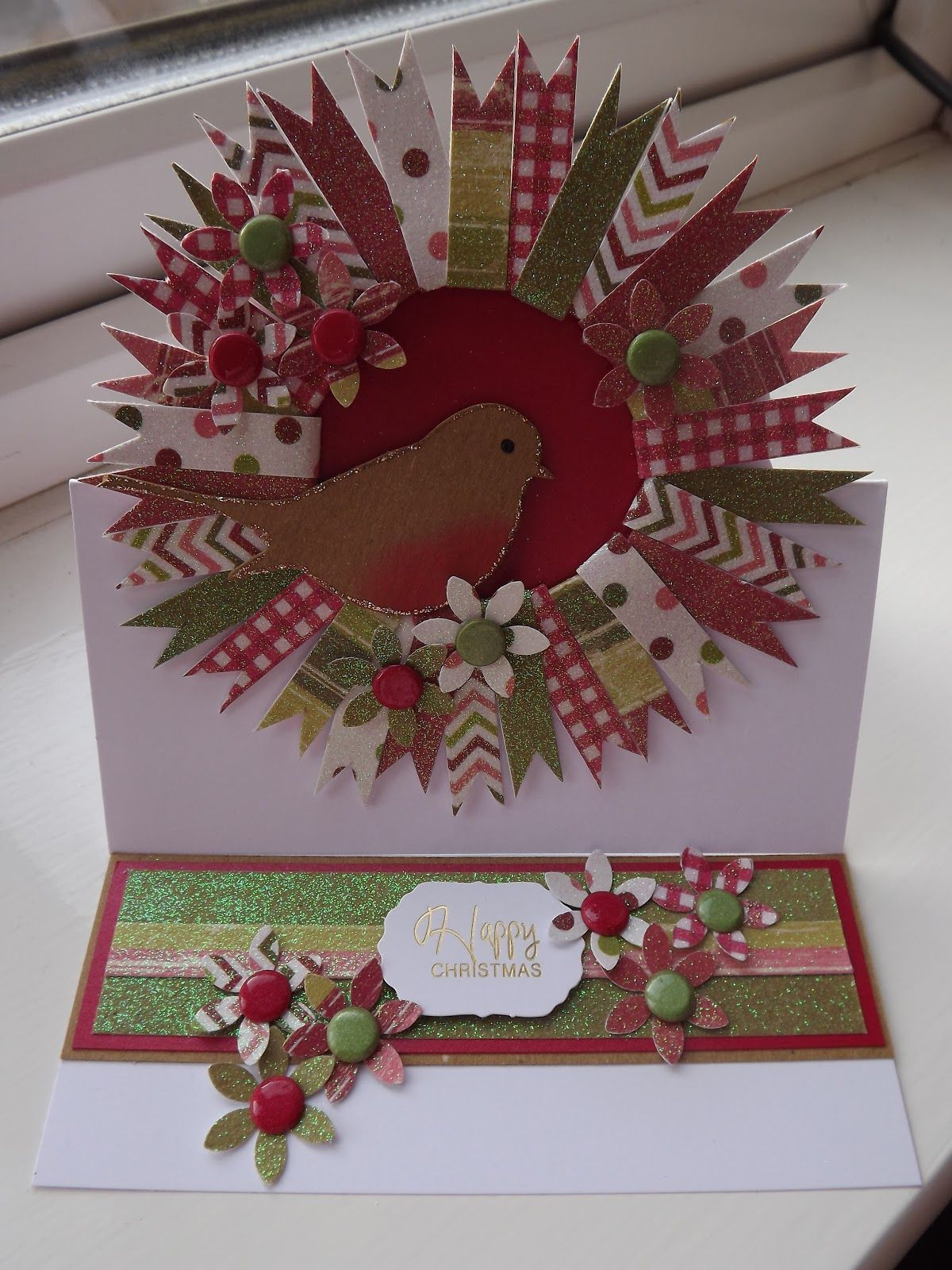 Christmas Wreath easel card made with Craftwork Cards robin and