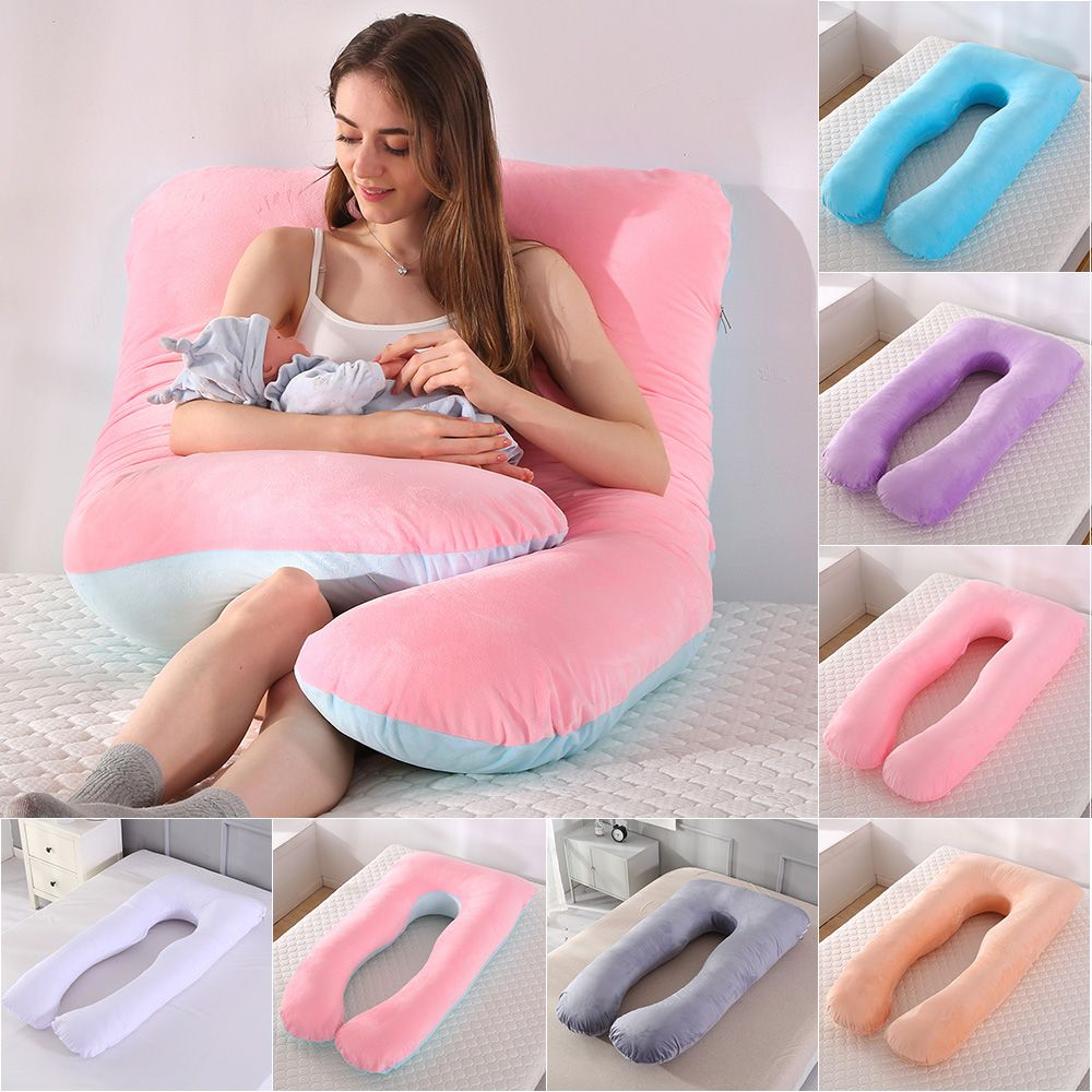TOPCHANCES Pregnancy Pillow with Soft Jersey Cover - U Shaped Body Pillow for Pregnant Women