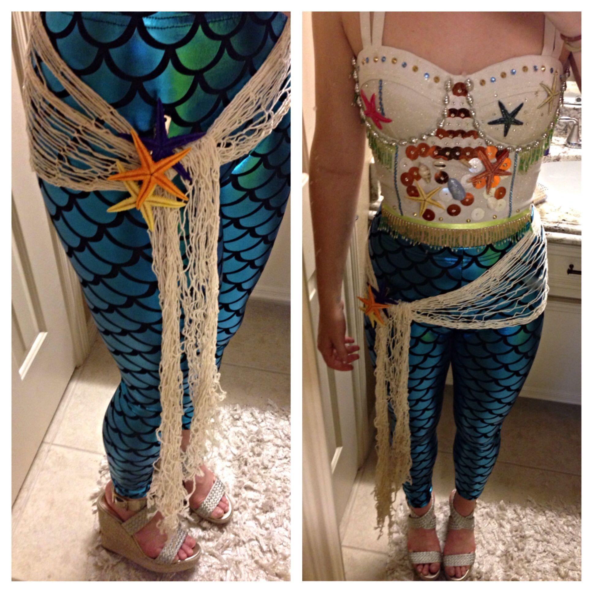 Mermaid Halloween Costume! Leggings Net Bustier(add Shells Spray Glitter Starfish Rhine ...