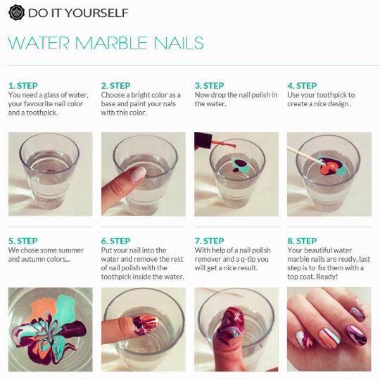 Water Marble NailsDIY