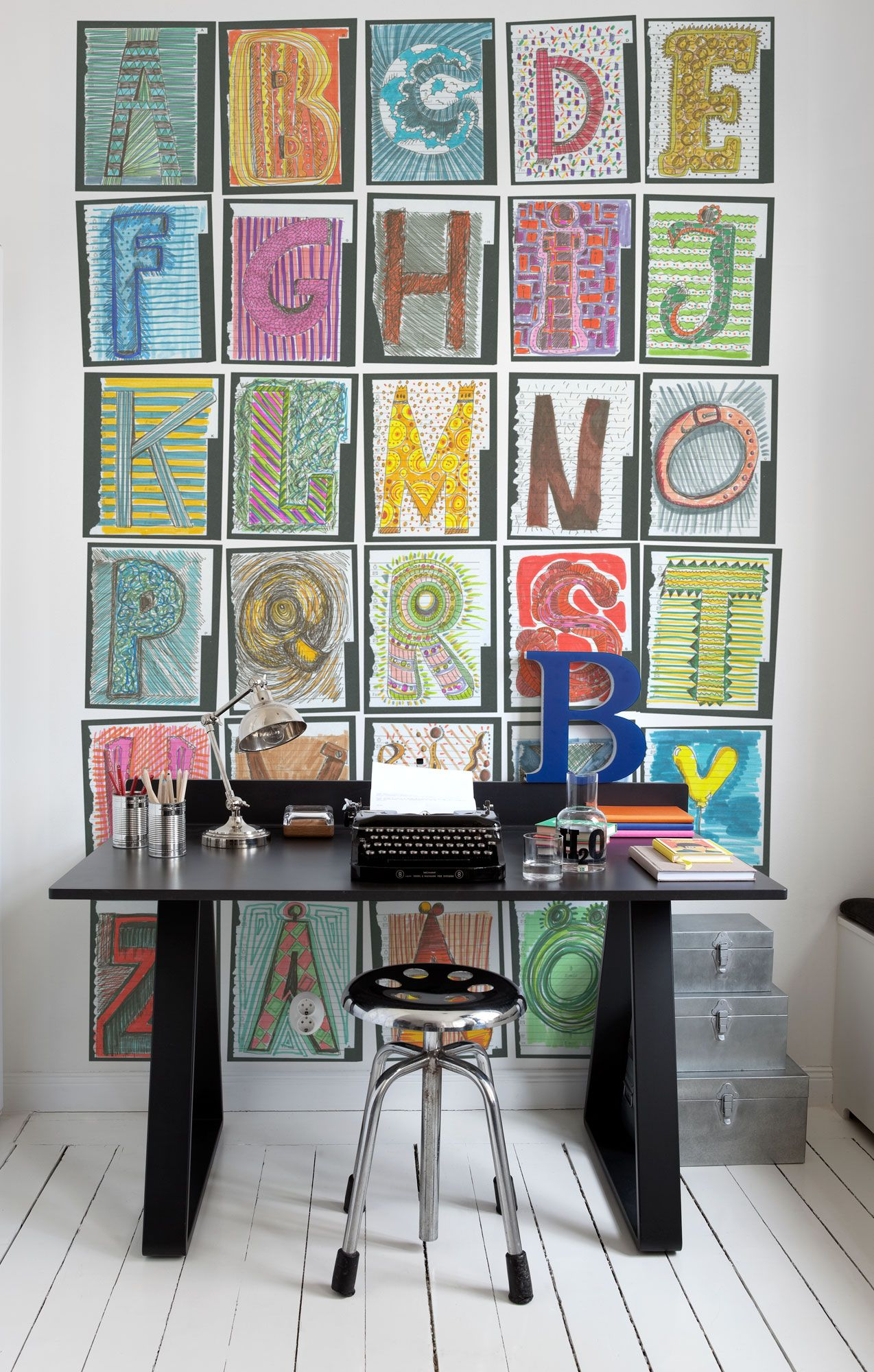 A Giant Font Alphabet Mural Available Both With And Without
