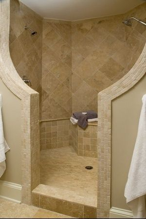 Lovely walk-in doorless shower (no glass to clean!)