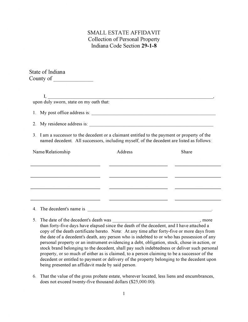 Indiana Small Estate Affidavit Form Free Affidavitforms