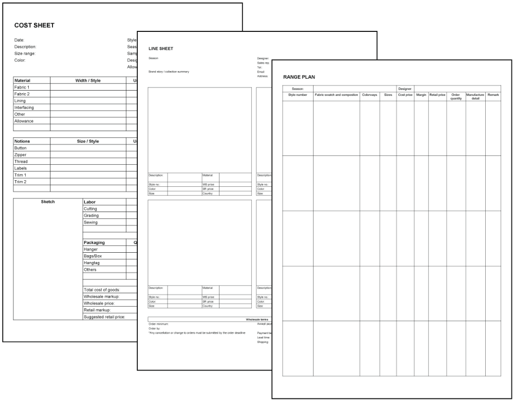 Download Templates from Fashionary Templates, Cost sheet