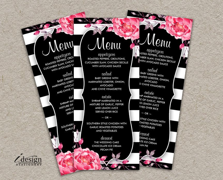 Elegant Floral Black And White Stripe Menu Cards With Pink