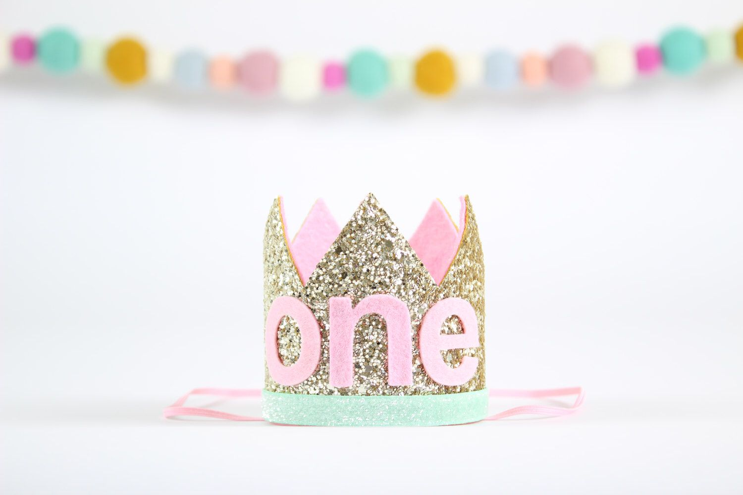 ONE Birthday Party Hat | First Birthday Smash Cake Glitter Crown | Baby Girl 1st Birthday Hat | Pale Gold + Mint + Pink ONE by SprinklePartyCo on Etsy https://www.etsy.com/listing/473563142/one-birthday-party-hat-first-birthday