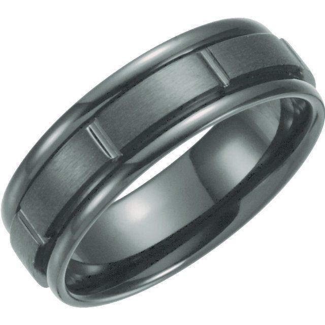 Bonyak Jewelry Black Titanium 7 mm Grooved Band Size 12.5 in Black Titanium