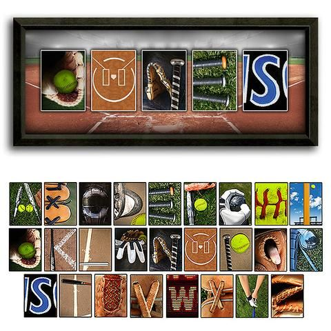 Softball Name Print - Framed Canvas & Letters Shown | Decorating ...