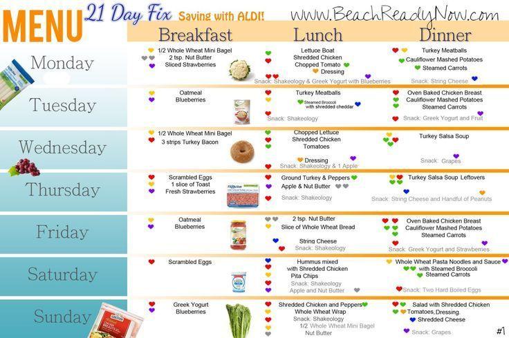 21 Day Fix Weekly Diet Menu With ALDI (1,200 \u2013 1,499 Calorie Plan