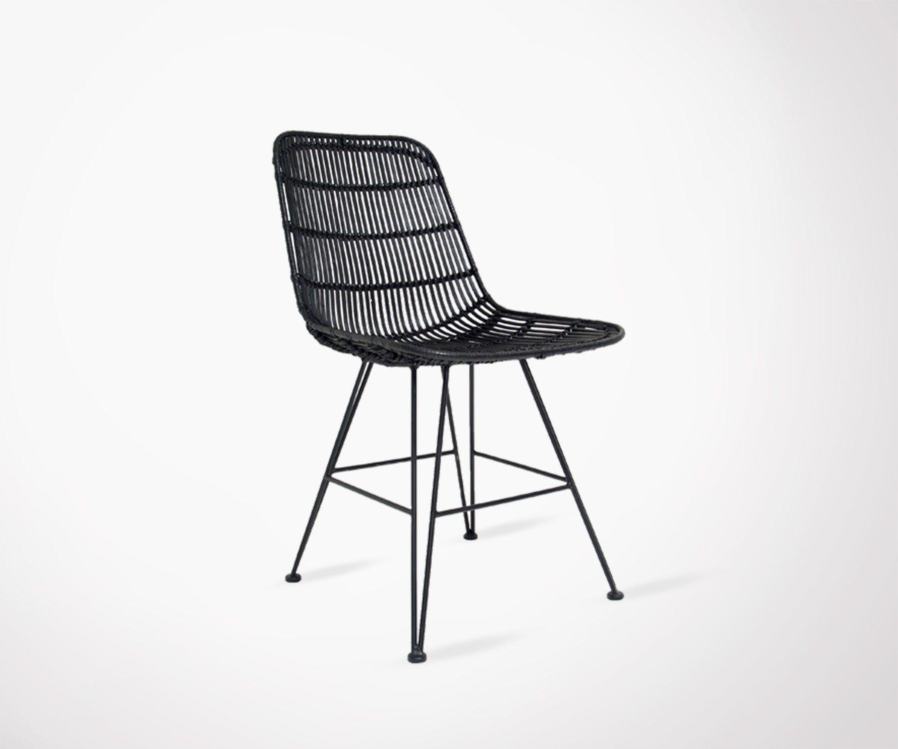 Chaise Design Rotin Noir Pieds Metal Noir Rattan Hk Living Chaise Rotin Chaise Design Chaise