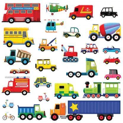 27 Transports Wall Stickers 乗り物 イラスト かわいい イラスト 手書き 子供イラスト