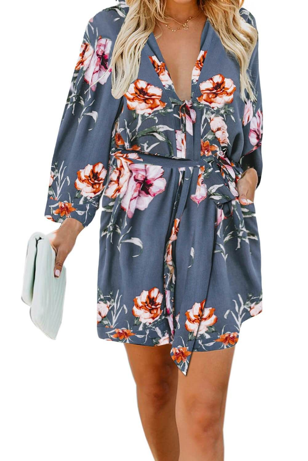 Blue Casual V Neck 3 4 Sleeve Floral Dress Floral Dress Casual Casual Short Sleeve Dress Summer Dresses With Sleeves [ 1500 x 1001 Pixel ]
