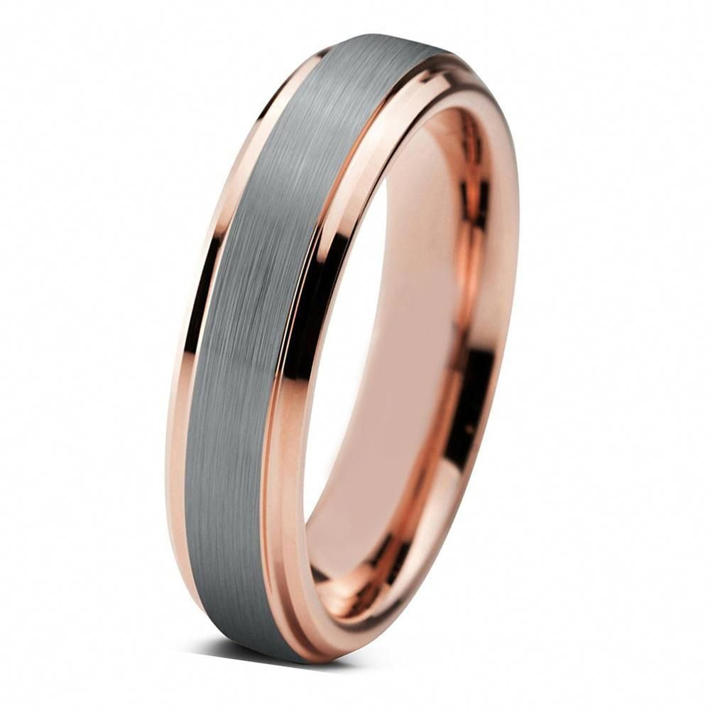 Tungsten Wedding Band Mens Wedding Ring Rose Gold Anniversary Band