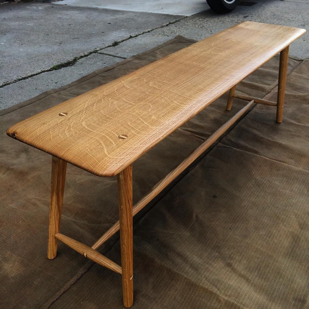 First Coat Of Tung Oil Down On The English Oak Side Bench With Ash