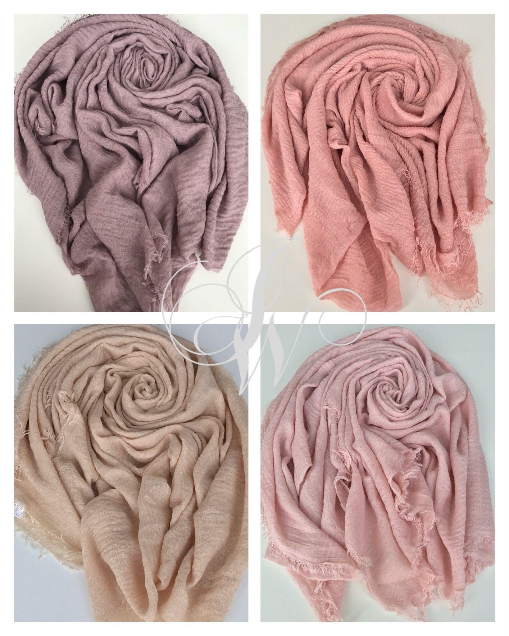 Crinkle-Hijab-Scarves-Shawl Crimp Frayed Edges Maxi Scarf Cotton 70 colours