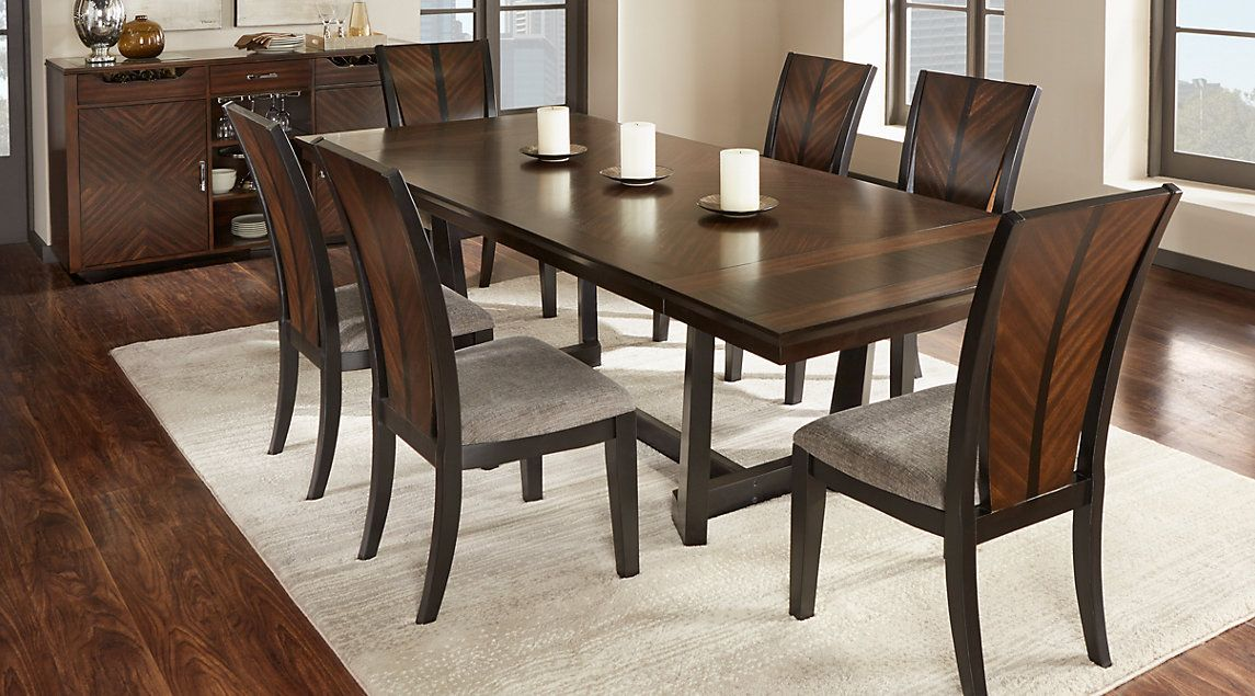 Dark Wood Dining Room Sets Cherry Espresso Mahogany Brown Etc Dark Wood Dining Room Dark Wood Dining Room Set Wood Dining Room