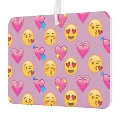 Emoji Love And Hearts Pink Pattern Car Air Freshener - pink gifts style ideas cyo unique
