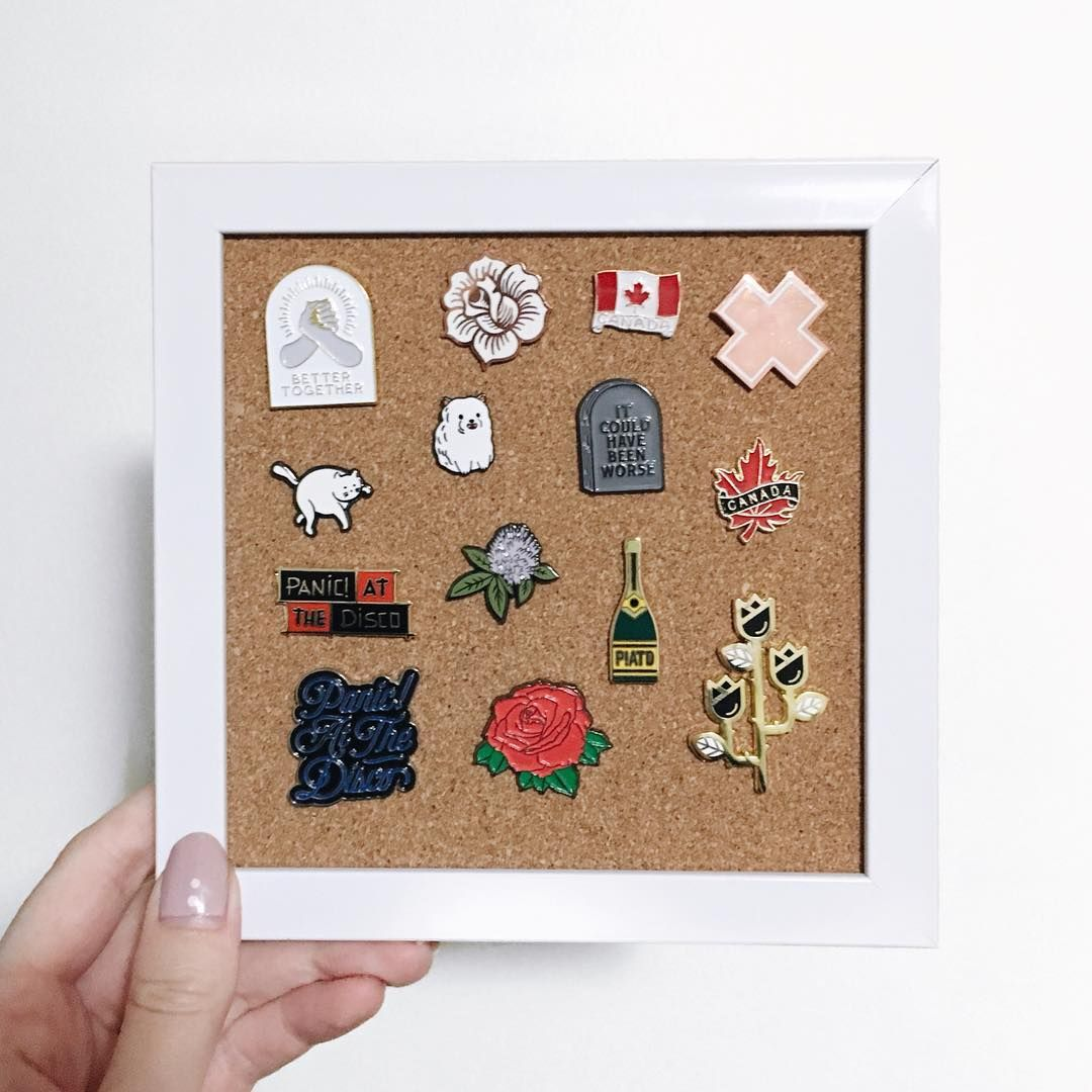 I just made this cute DIY enamel pin display! It only cost about $5