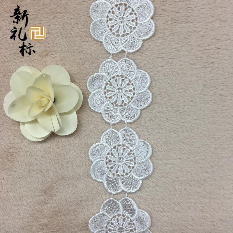[Visit to Buy] New circle large flower clothing accessories soluble lace embroidery lace polyester bar code #Advertisement