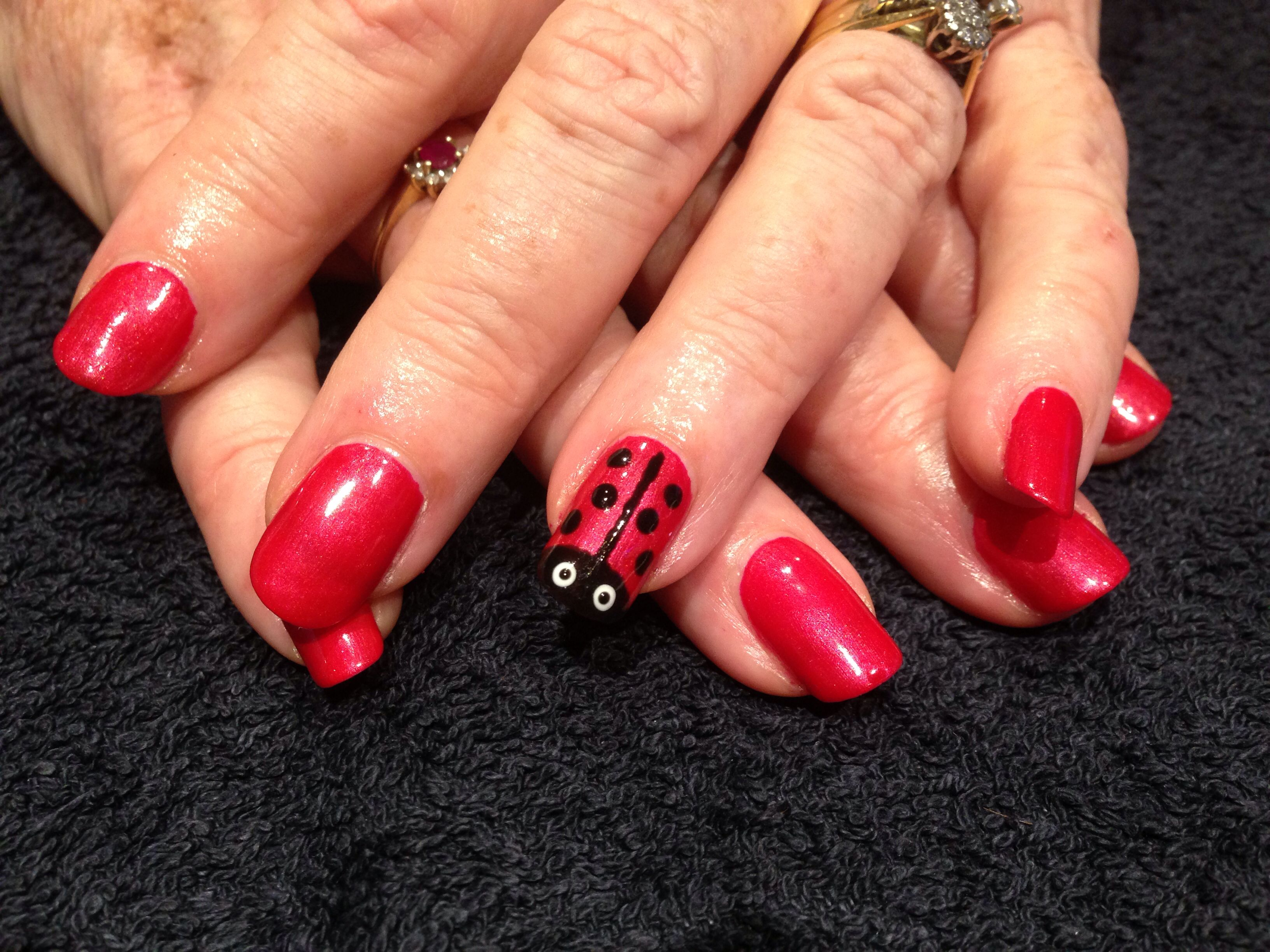 CND Shellac Red Baroness with Lady bug | CND Shellac Nails ...