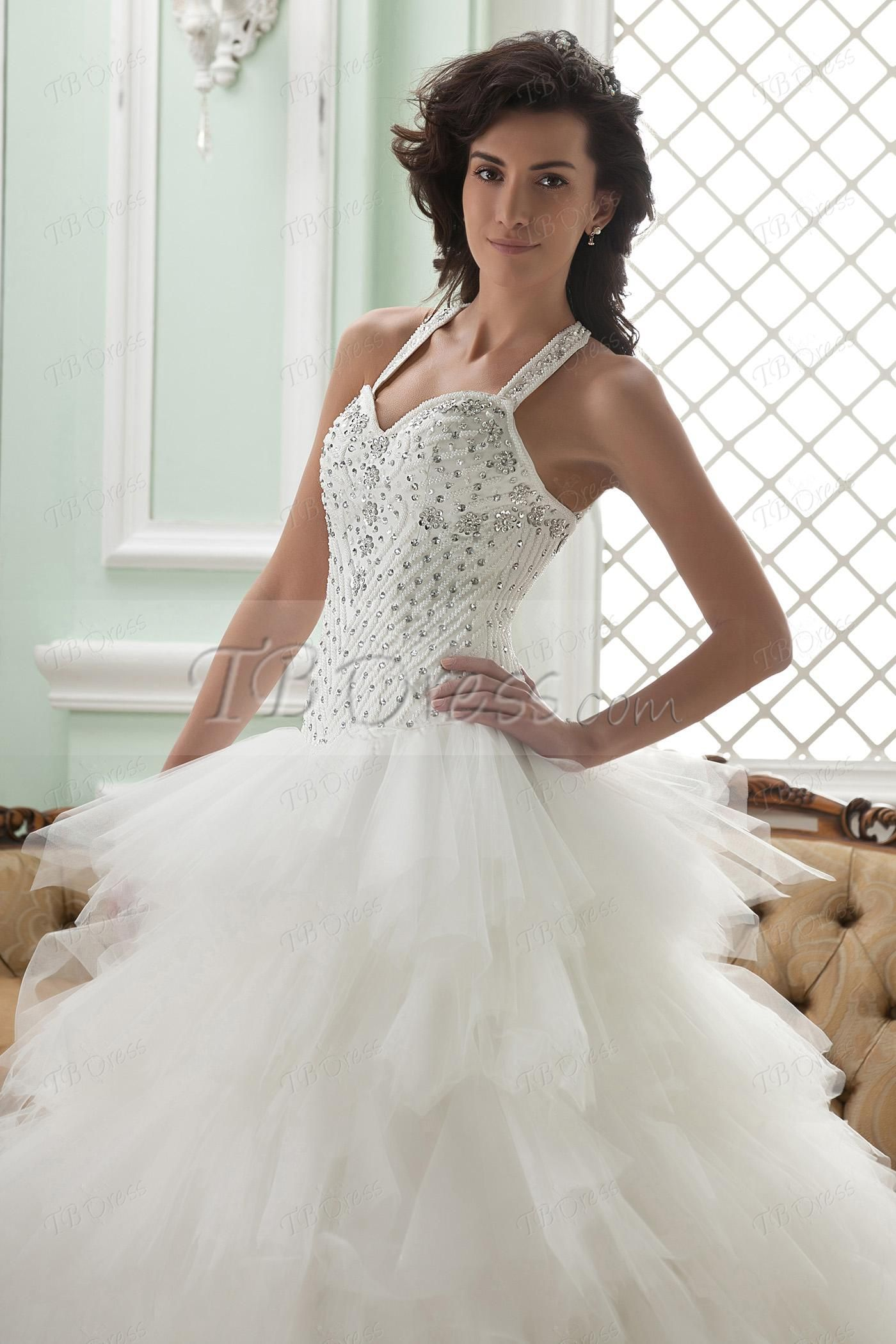 Fabulous Ball Gown Straps Cathedral Train Ruffles Wedding