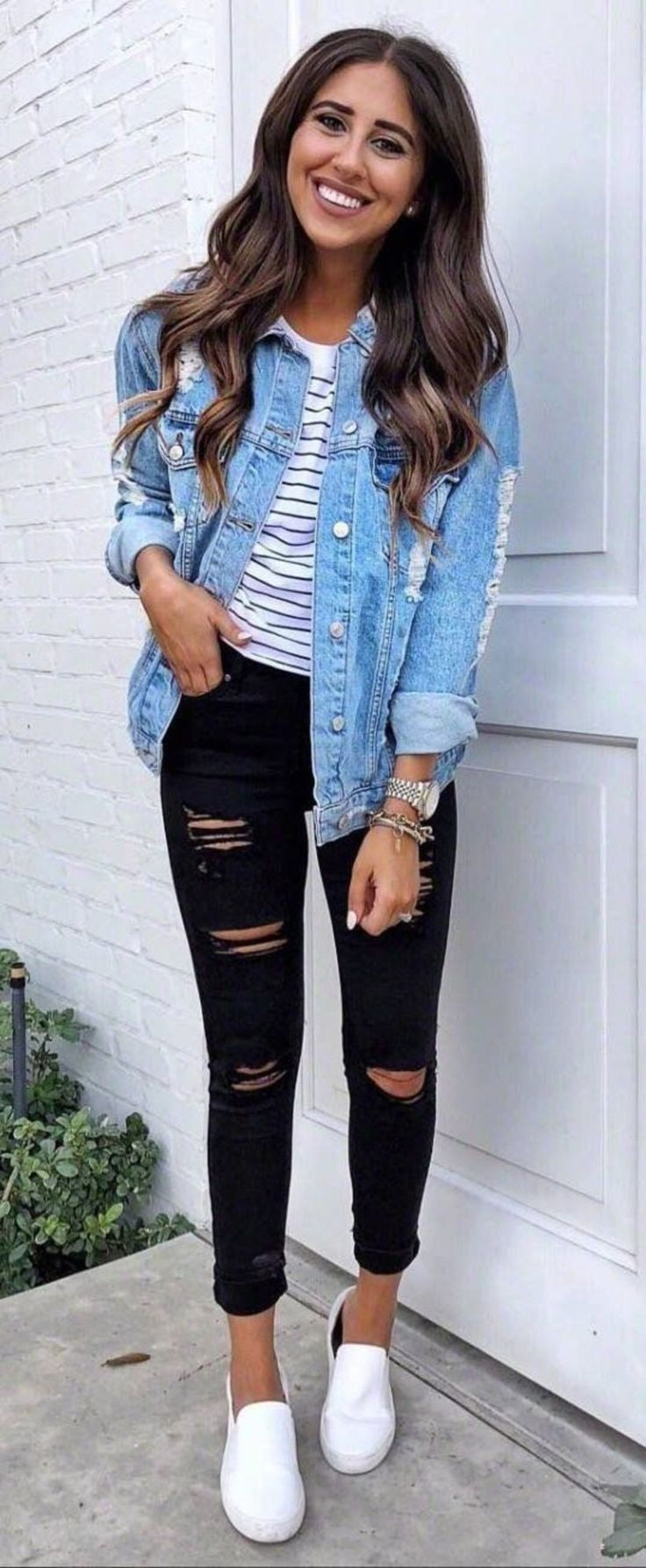 Style The Look Ripped Jeans Denim Jacket T Shirt Outfit
