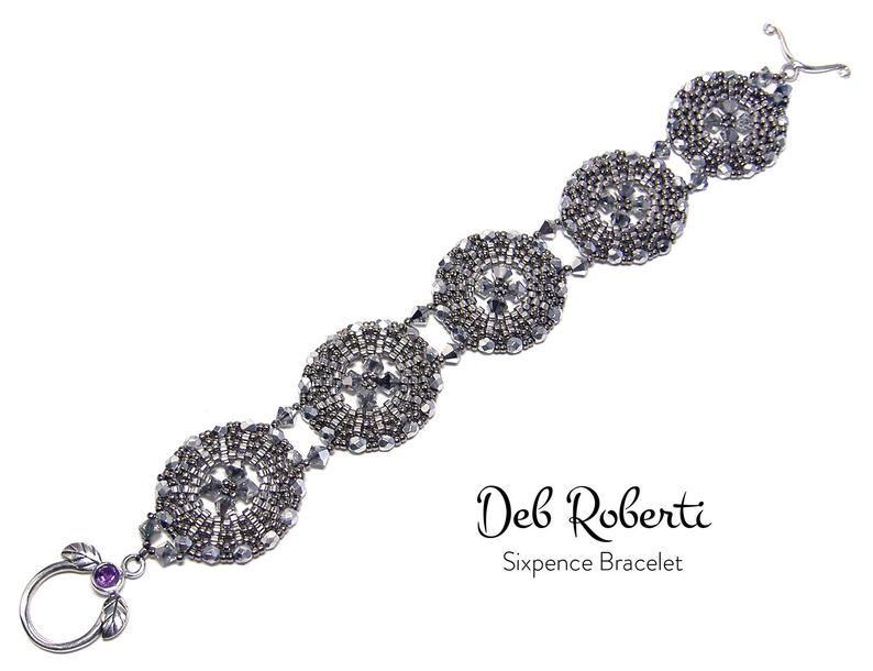 Sixpence Bracelet beaded pattern tutorial by Deb Roberti