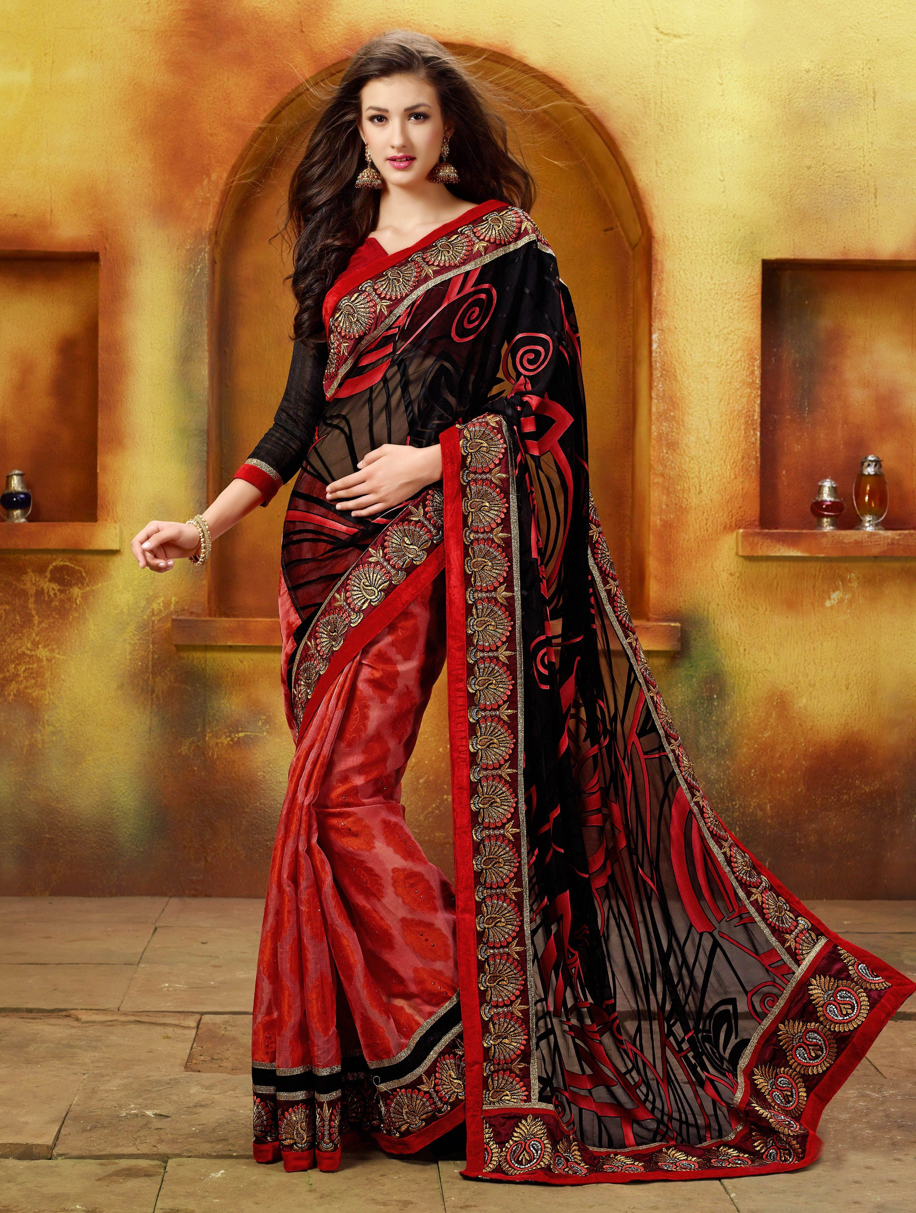 c6d6b53e37c combination of black red sarees - Google Search
