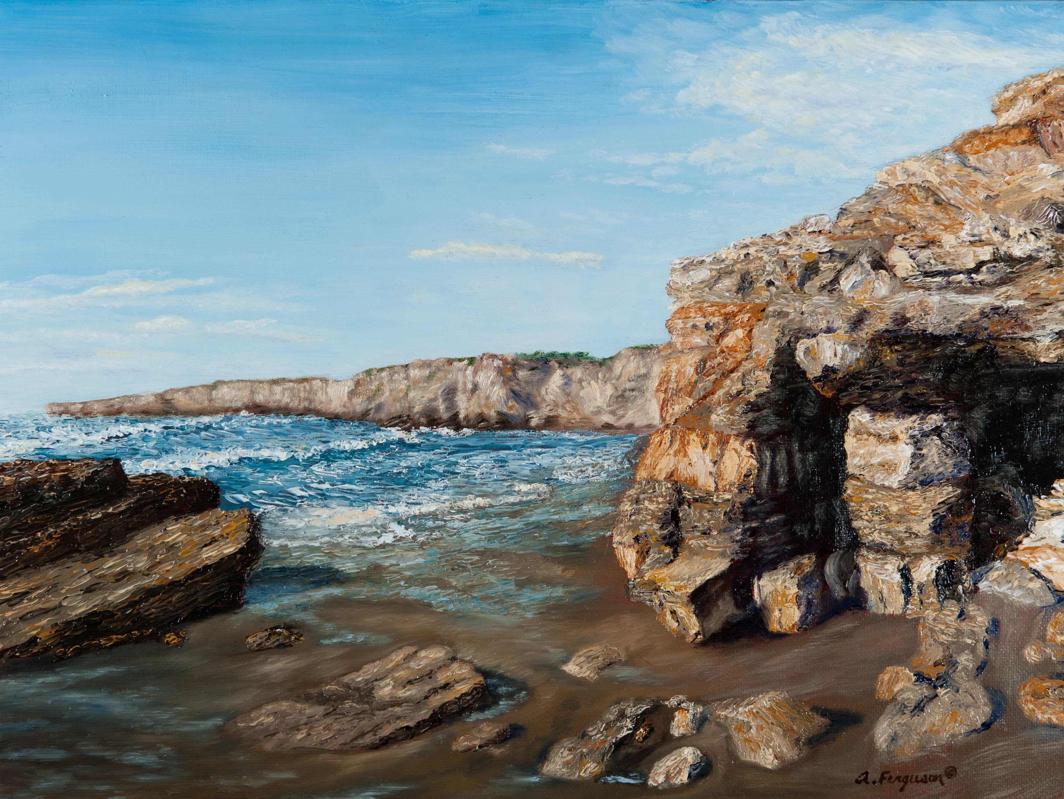 wall beach vandenberg afb california 12 x16 oil on panel painting