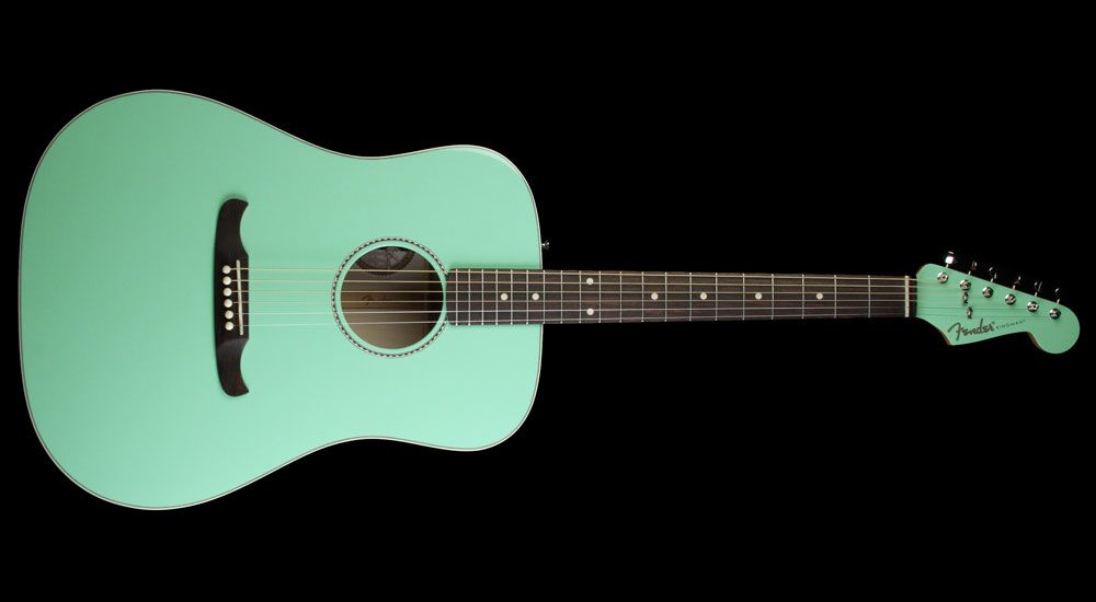 Fender Custom Shop Flame Maple Kingman 62 Acoustic Electric Guitar Surf Green