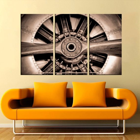Propeller Engine Aircraft Large Canvas Print Airplane Wall Canvas Art Engine Canvas Art Print 1 Or 3 Airplane Wall Large Canvas Prints Wall Art Living Room